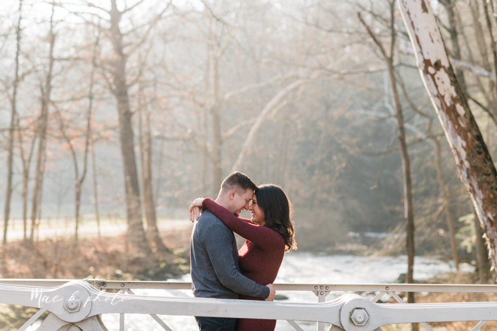 shelby and tyler's winter engagement session in northeast ohio at the cinderella bridge silver bridge and lanterman's mill in mill creek park in youngstown ohio photographed by youngstown wedding photographer mae b photo-2.jpg