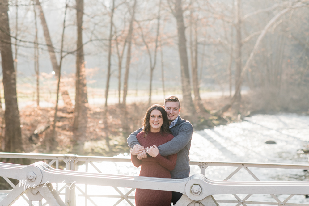 shelby and tyler's winter engagement session in northeast ohio at the cinderella bridge silver bridge and lanterman's mill in mill creek park in youngstown ohio photographed by youngstown wedding photographer mae b photo-3.jpg