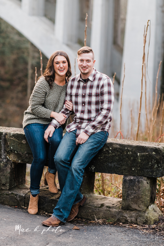 shelby and tyler's winter engagement session in northeast ohio at the cinderella bridge silver bridge and lanterman's mill in mill creek park in youngstown ohio photographed by youngstown wedding photographer mae b photo-49.jpg