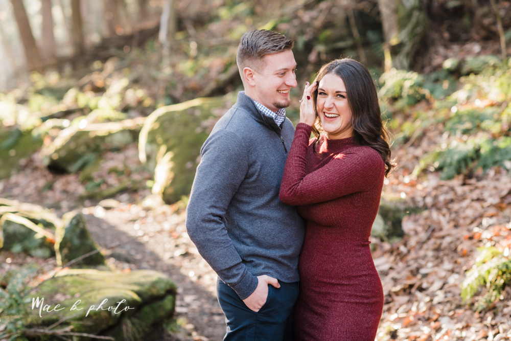 shelby and tyler's winter engagement session in northeast ohio at the cinderella bridge silver bridge and lanterman's mill in mill creek park in youngstown ohio photographed by youngstown wedding photographer mae b photo-14.jpg