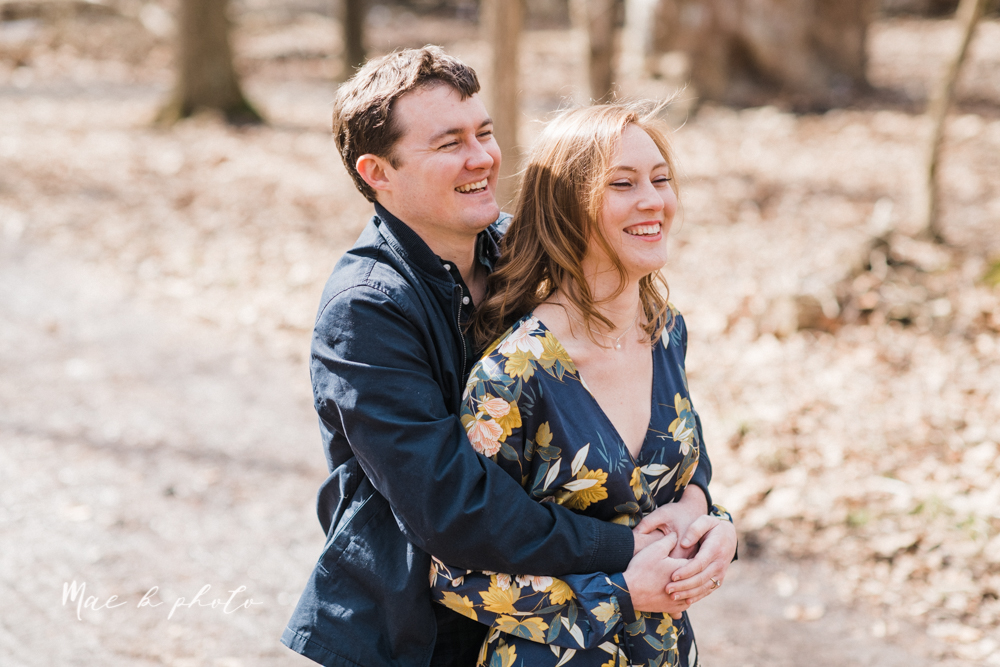 christina and michael's hometown woodsy playful early spring engagement session at poland forest in poland ohio and poland library and handels ice cream in canfield ohio photographed by youngstown wedding photographer mae b photo-15.jpg
