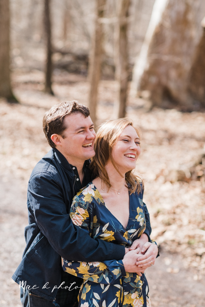 christina and michael's hometown woodsy playful early spring engagement session at poland forest in poland ohio and poland library and handels ice cream in canfield ohio photographed by youngstown wedding photographer mae b photo-16.jpg
