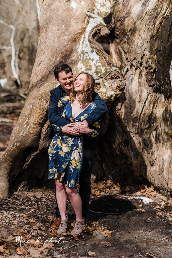 christina and michael's hometown woodsy playful early spring engagement session at poland forest in poland ohio and poland library and handels ice cream in canfield ohio photographed by youngstown wedding photographer mae b photo-7.jpg