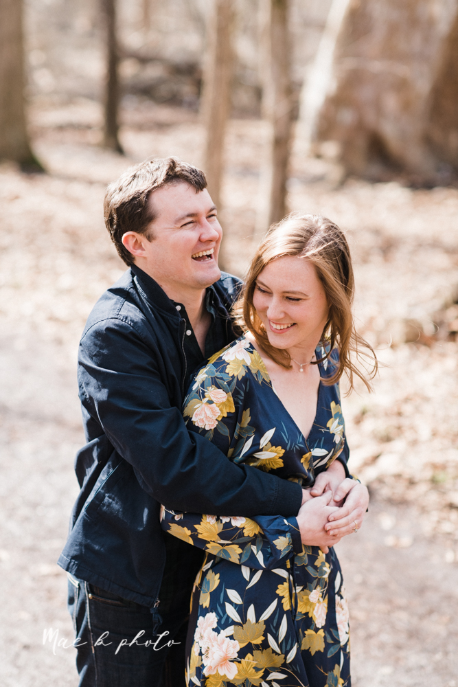 christina and michael's hometown woodsy playful early spring engagement session at poland forest in poland ohio and poland library and handels ice cream in canfield ohio photographed by youngstown wedding photographer mae b photo-17.jpg