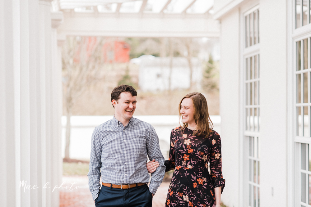 christina and michael's hometown woodsy playful early spring engagement session at poland forest in poland ohio and poland library and handels ice cream in canfield ohio photographed by youngstown wedding photographer mae b photo-43.jpg