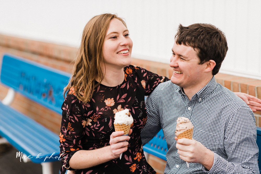 christina and michael's hometown woodsy playful early spring engagement session at poland forest in poland ohio and poland library and handels ice cream in canfield ohio photographed by youngstown wedding photographer mae b photo-58.jpg