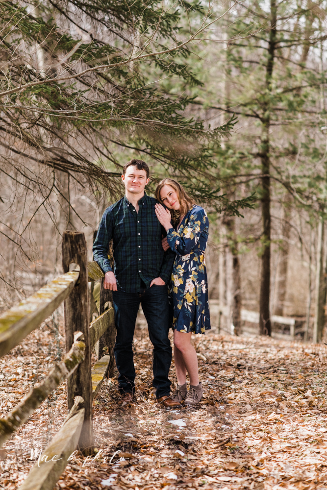 christina and michael's hometown woodsy playful early spring engagement session at poland forest in poland ohio and poland library and handels ice cream in canfield ohio photographed by youngstown wedding photographer mae b photo-34.jpg