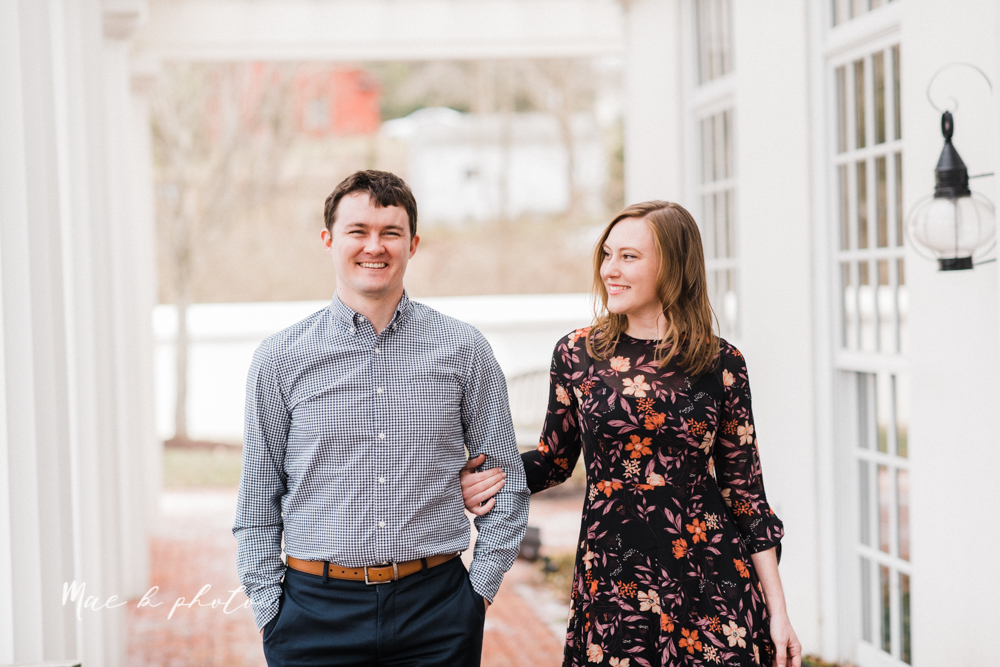 christina and michael's hometown woodsy playful early spring engagement session at poland forest in poland ohio and poland library and handels ice cream in canfield ohio photographed by youngstown wedding photographer mae b photo-44.jpg