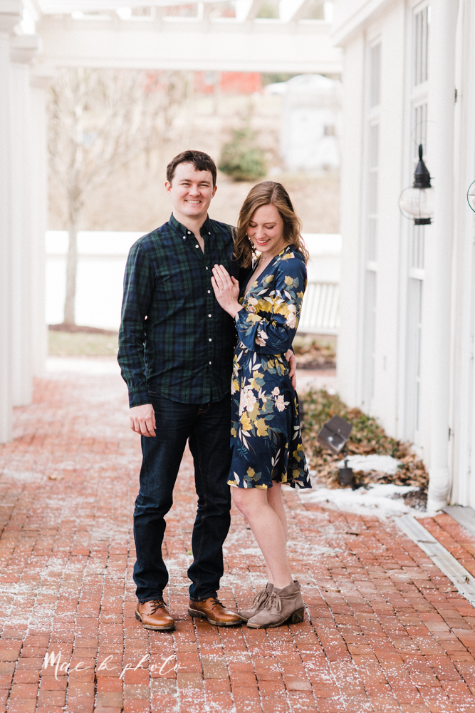 christina and michael's hometown woodsy playful early spring engagement session at poland forest in poland ohio and poland library and handels ice cream in canfield ohio photographed by youngstown wedding photographer mae b photo-39.jpg