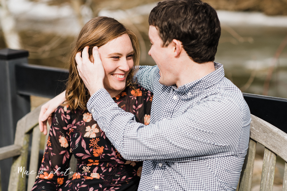 christina and michael's hometown woodsy playful early spring engagement session at poland forest in poland ohio and poland library and handels ice cream in canfield ohio photographed by youngstown wedding photographer mae b photo-50.jpg