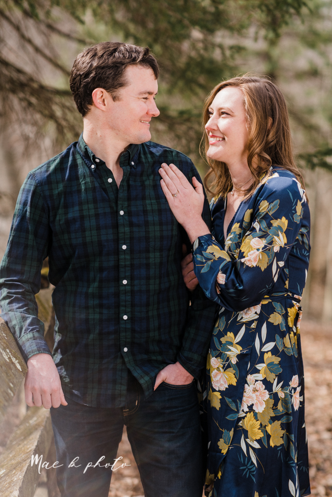 christina and michael's hometown woodsy playful early spring engagement session at poland forest in poland ohio and poland library and handels ice cream in canfield ohio photographed by youngstown wedding photographer mae b photo-38.jpg