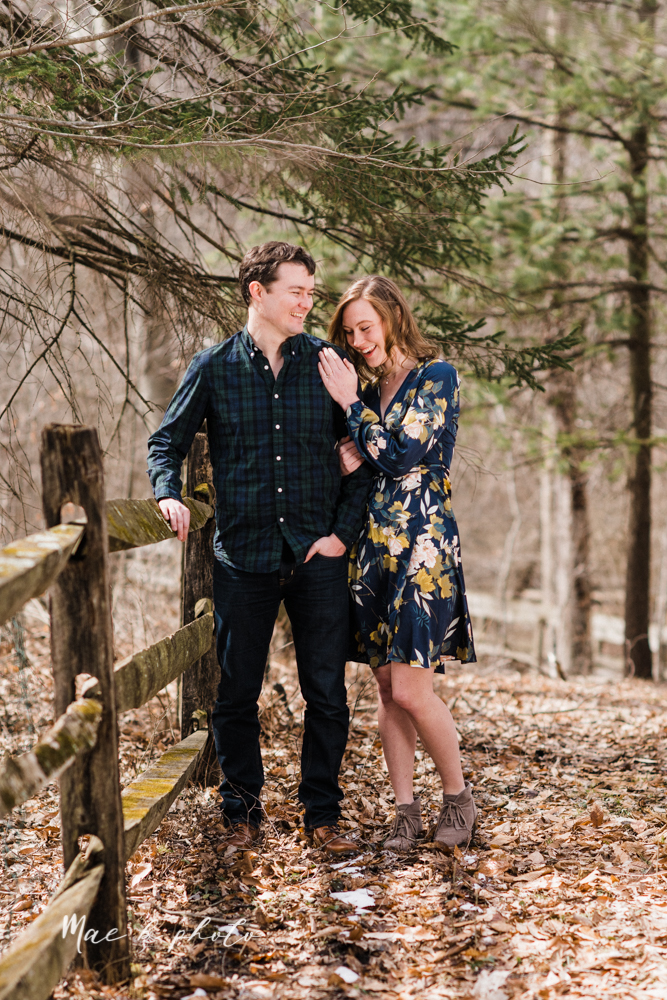 christina and michael's hometown woodsy playful early spring engagement session at poland forest in poland ohio and poland library and handels ice cream in canfield ohio photographed by youngstown wedding photographer mae b photo-32.jpg
