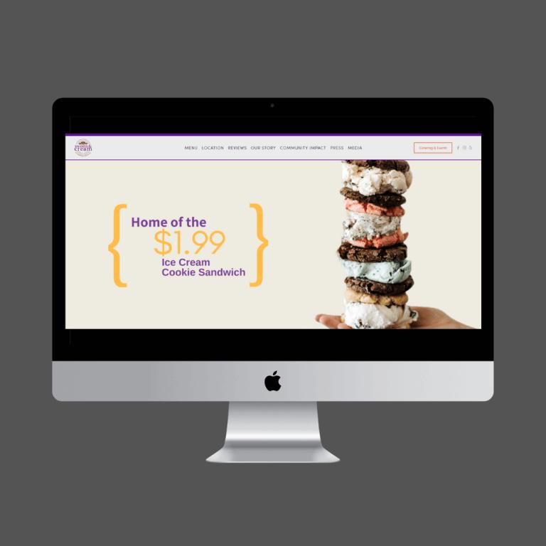 SWEETS & CREAM - Local ice cream cookie sandwich shop - full design and development.