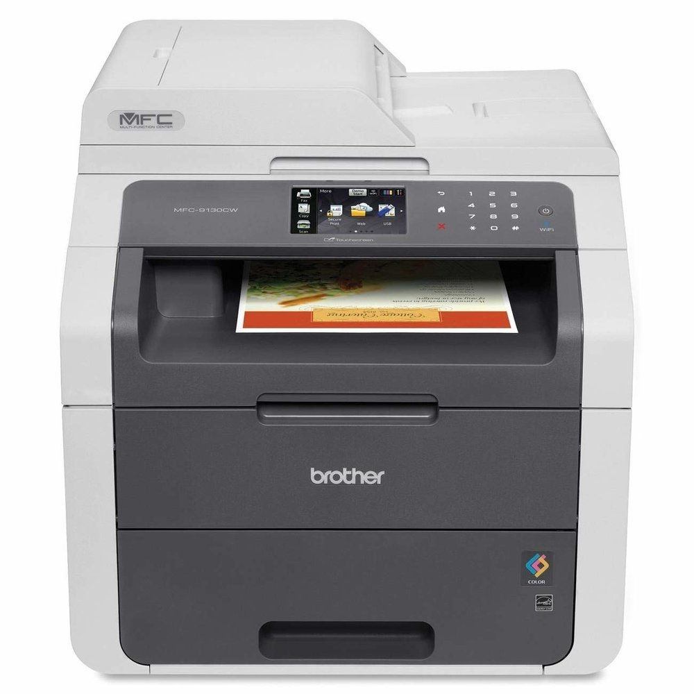 Brother MFC-9130DW Color Laser All-in-One Printer.  Prints in Black AND Color, Copies, Scans and Faxes.  A great printer that does it all, and uses Laser Toner Trays to ensure anything thrown at it. Bit pricey, but does it all much better/efficient than a Ink Cartridge Printer. Costs around $330