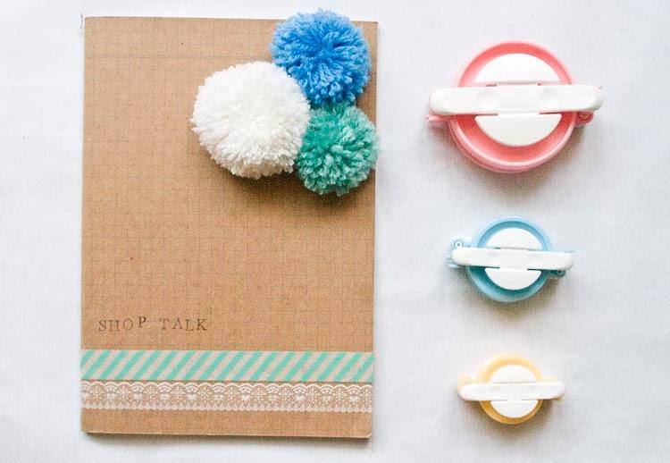 Pom Pom Notebook, washi tape, DIY, Yarn, Poms