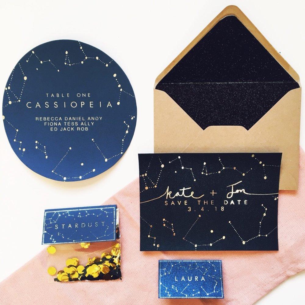 celestial wedding stationery