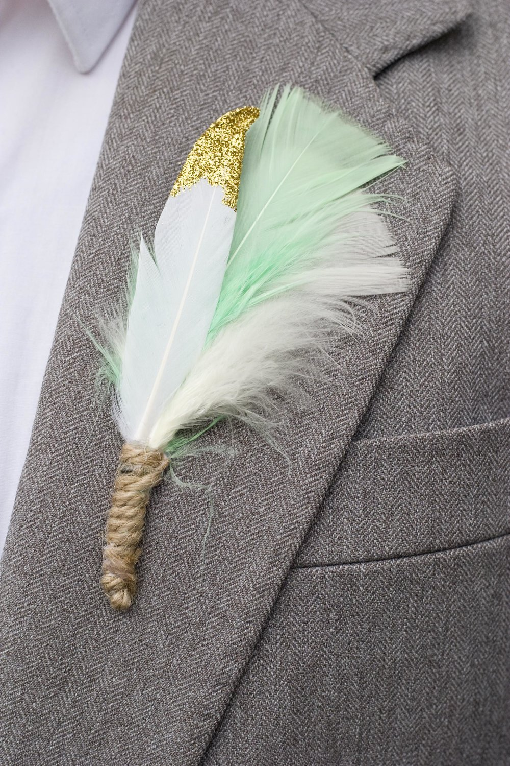 These mint feather buttonholes are available in my shop here.