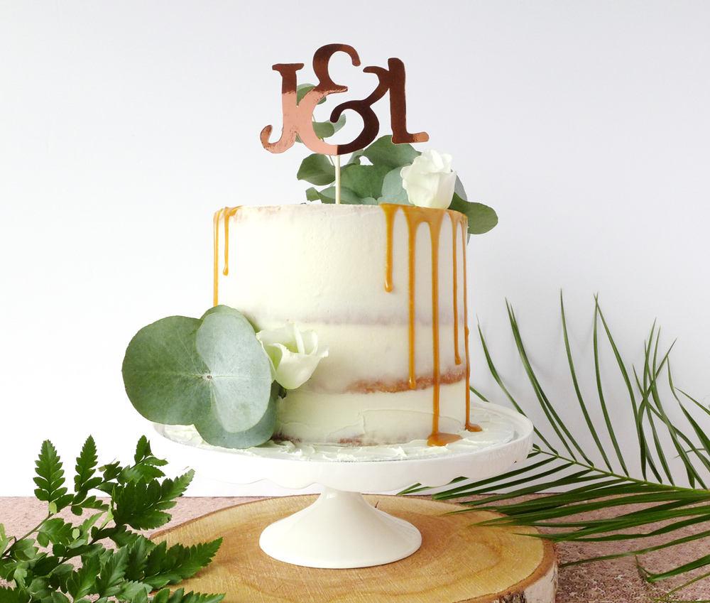 Rose Gold Cake Topper Custom Initials Decoration Copper Personalised Wedding Decor Couple Monogram Engagement