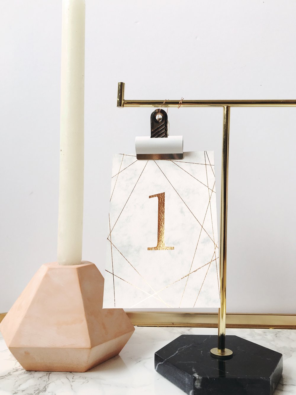 Marble and rose gold table numbers.