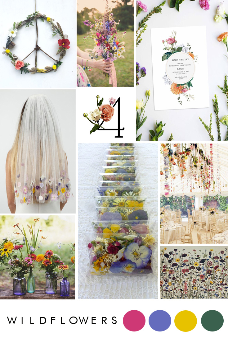 Modern ideas for a wild flower wedding.