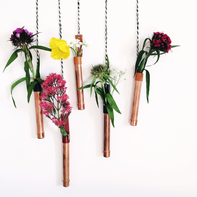 Wildflowers in Copper bud vases, which you can buy here at SlinkyHome.