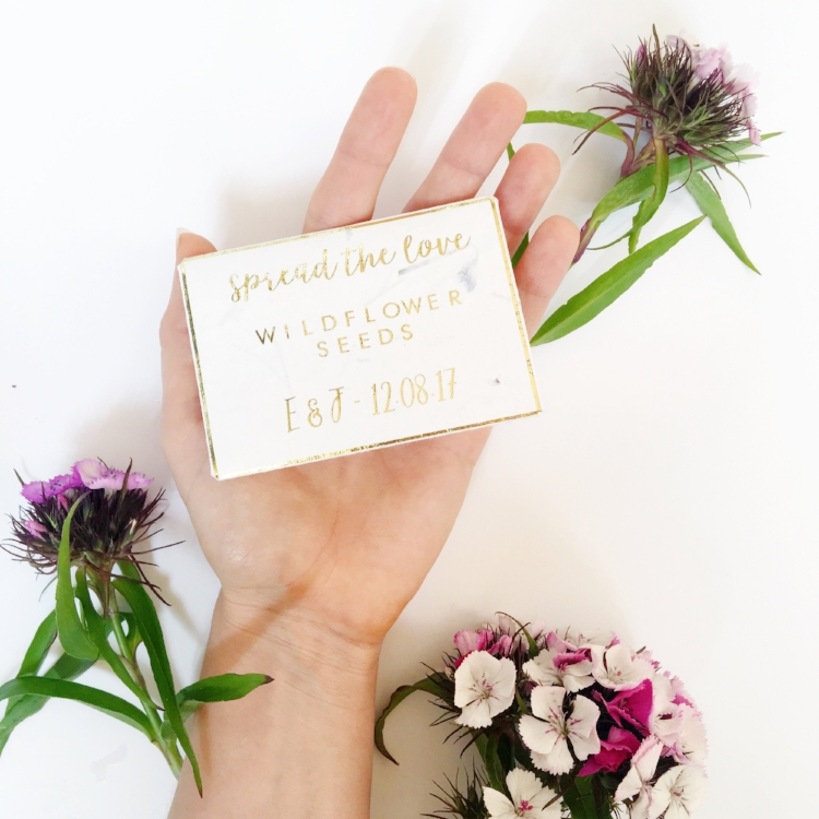 Personalised packs of wildflower seeds make perfect wedding favours.