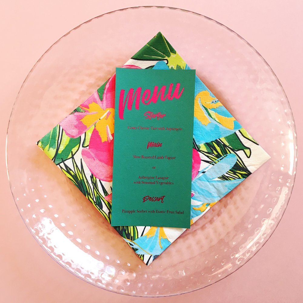 Hot pink and green are a match made in heaven in this  menu card!