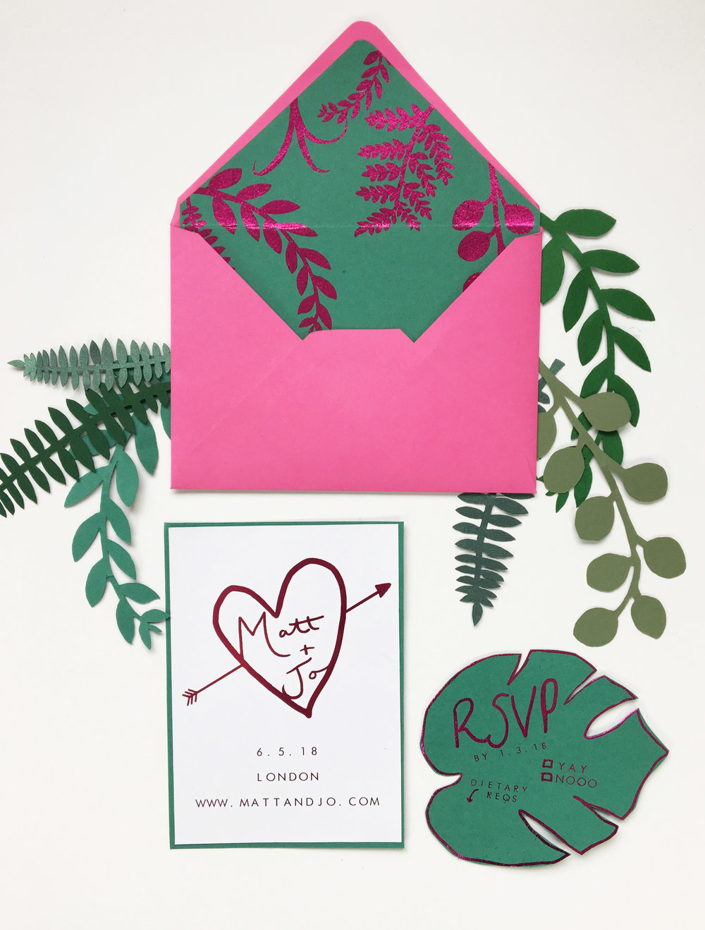 You can buy these  tropical neon invitations  in my shop - the monstera leaf RSVP card is my fave.