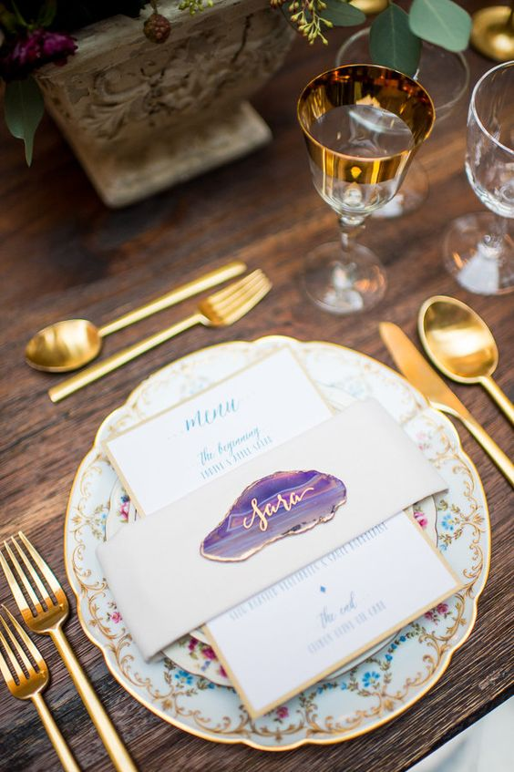 amethyst wedding tablescape