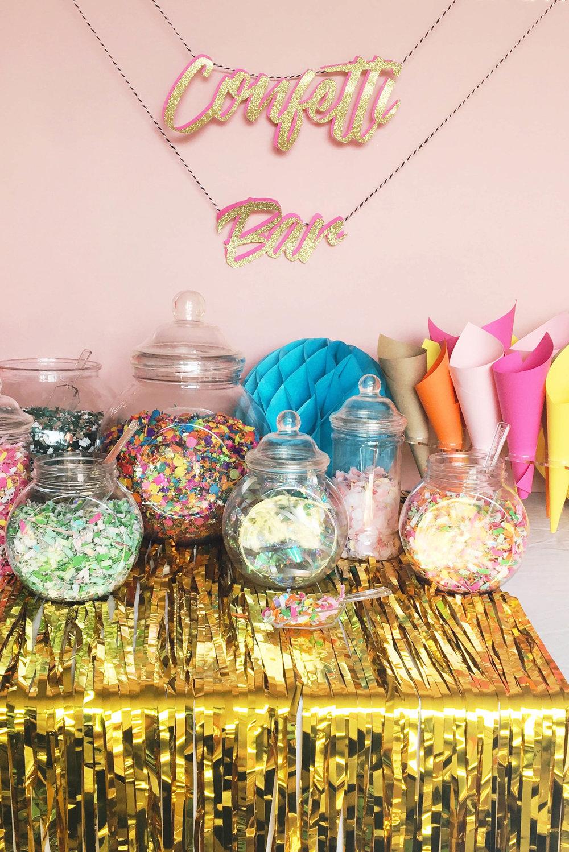 Pop-up wedding confetti bar station