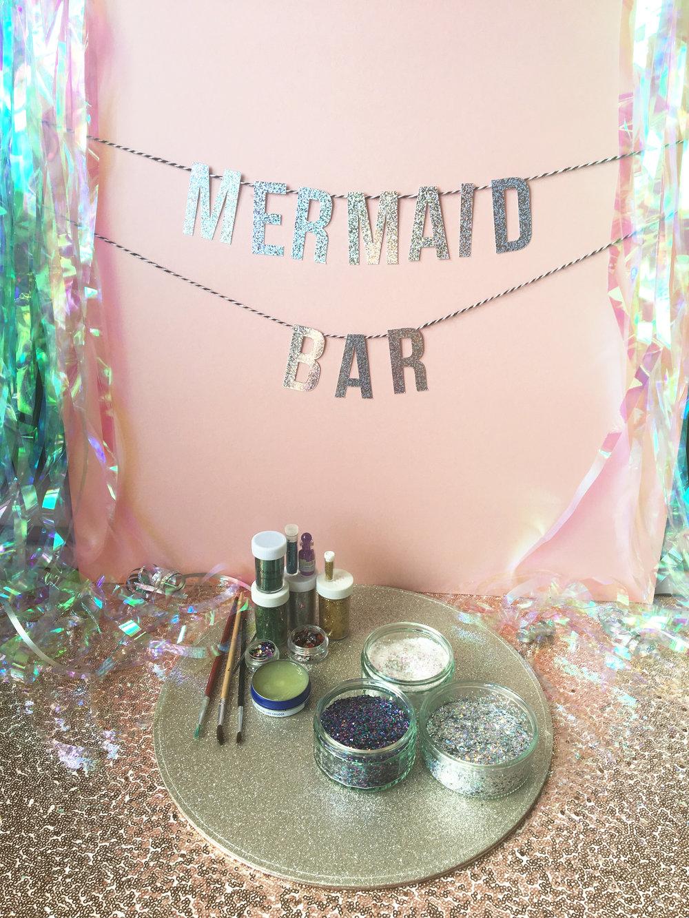 glitter mermaid pop-up wedding bar station