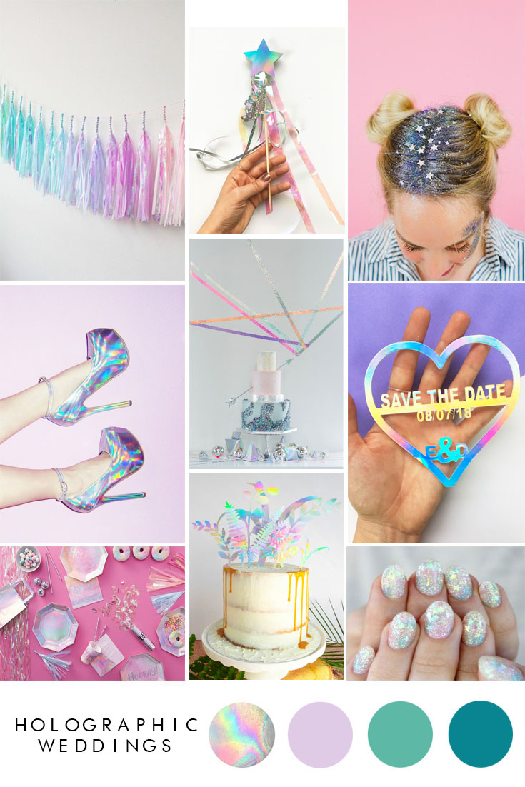 how to incorporate holographic into your wedding