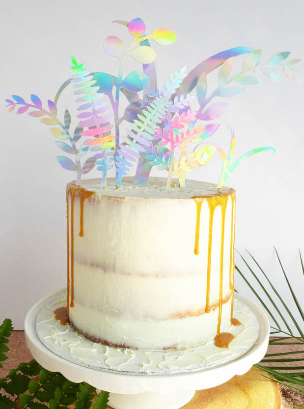 holographic leaves cake topper