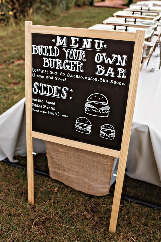 Burger bar wedding food