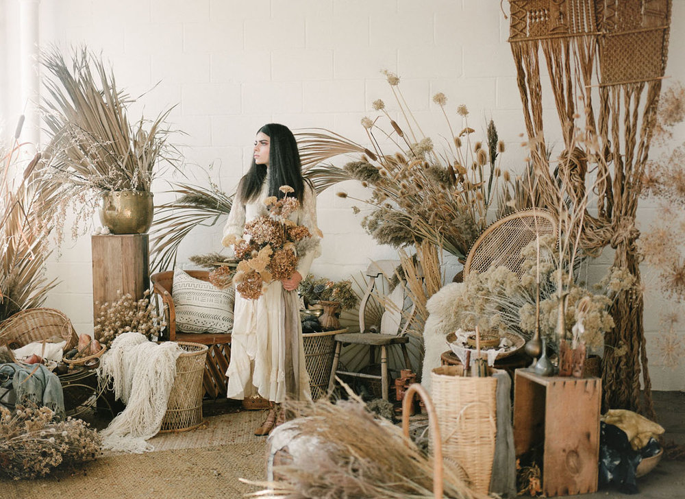 Dried flowers and Pampas grass love. Photo by  miesh photography  found via  Green Wedding Shoes