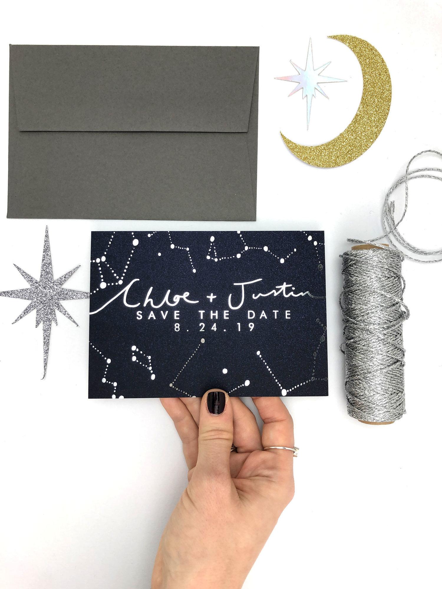 celestial navy constellation wedding invitations rachel emma