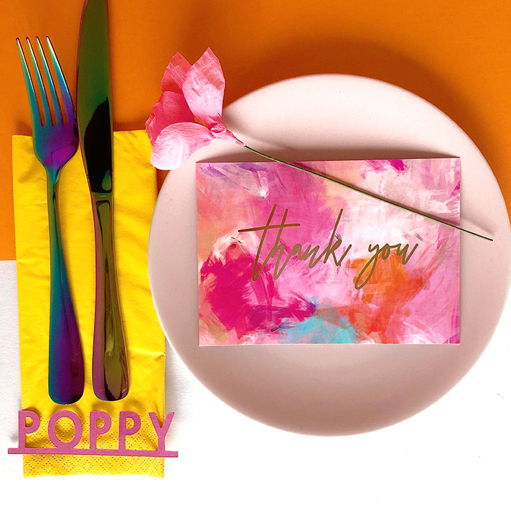 Four ways to style your wedding table decor - colourful place settings.