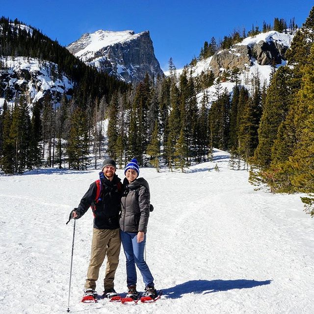 Doing a little snowshoeing this beautiful Saturday in Rocky Mountain National Park. #snowshoe #snowshoeing #rockymountainnationalpark #findyourpark #colorado #wanderlust