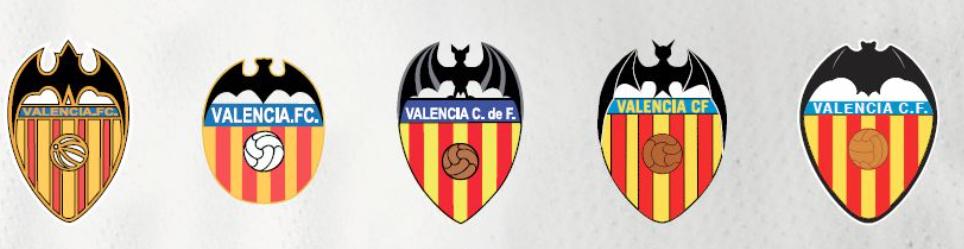 Valencia C.F. Crest Timeline. Image Courtesy of Valencia C.F.
