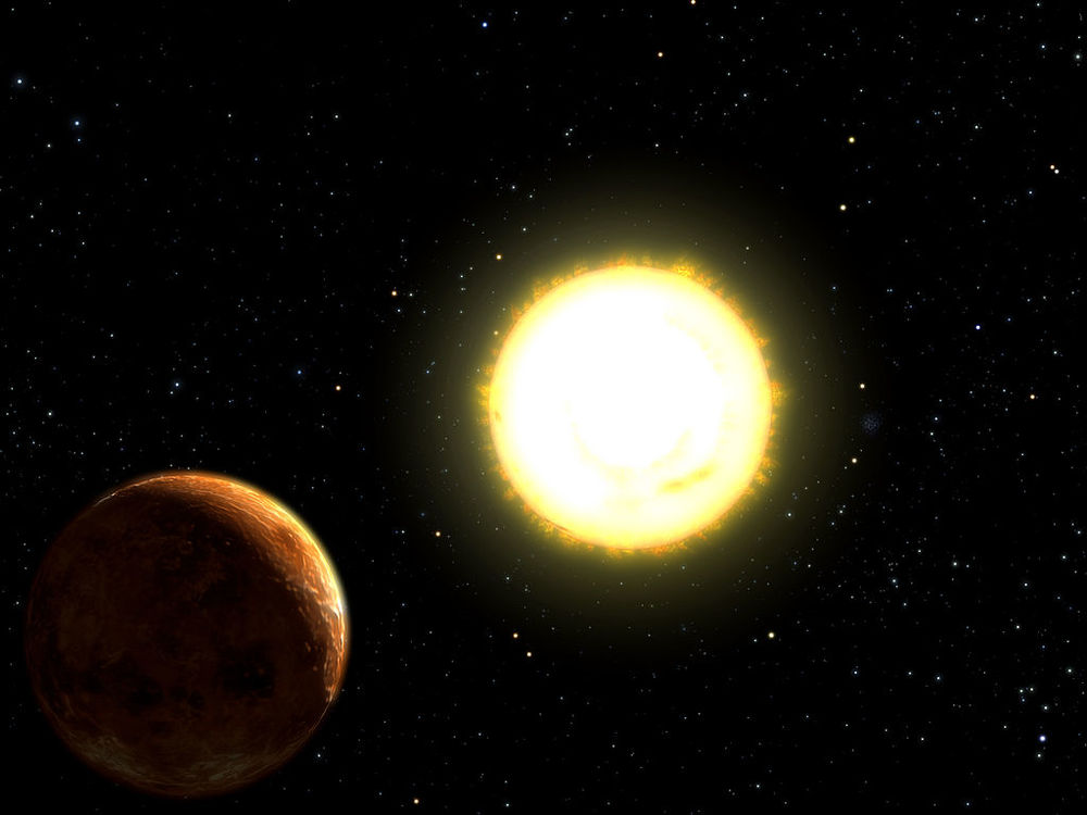 Artist depiction of 55 Cancri e orbiting its star. (Source: University of Texas, NSF, NASA,  http://antwrp.gsfc.nasa.gov/apod/ap040901.html )