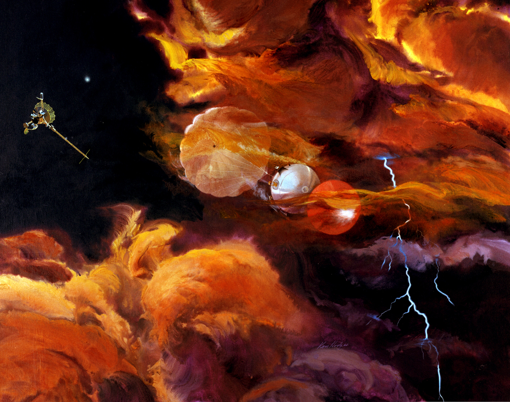 Artist's conception of the Galileo probe falling into Jupiter's atmosphere. Image credit: NASA.