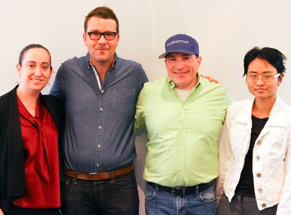 From left to right: Jennifer Lovick, editor/writer  Signal to Noise Magazine ; Sam Shaw, creator/executive producer/writer  Manhattan ; David Saltzberg, science consultant  Manhattan ; Kathy Ngo, guest contributor  Signal to Noise Magazine . (Photo credit: Jeff Maloy,  Signal to Noise Magazine )