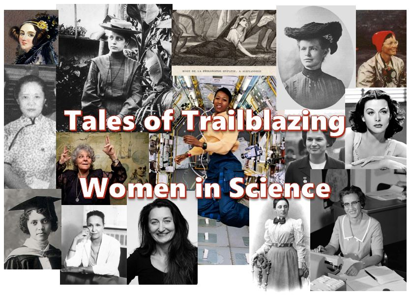 Graphic by Stephanie DeMarco. Top row (R-L): Ada Lovelace, Lise Meitner, Hypatia of Alexandria, Nettie Stevens, and Katia Krafft. Middle row (R-L): Chien-Shiung Wu, Ada Yonath, Mae Jemison, Valentina Tereshkova, and Hedy Lamarr. Bottom row (R-L): Alice Ball, Jane Cooke Wright, May-Britt Moser, Emmy Noether, and Katherine Johnson. All photos are in the public domain with the exception of those of  Valentina Tereshkova ,  May-Britt Moser,  and  Ada Yonath  which are licensed under the Creative Commons License.