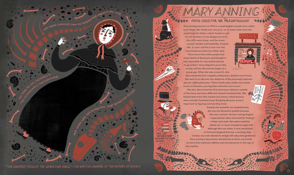 Mary Anning searches for dinosaur fossils. Reprinted with permission from Women in Science Copyright © 2016 by Rachel Ignotofsky. Published by Ten Speed Press, an imprint of Penguin Random House LLC.