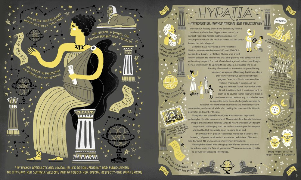 Hypatia studies the stars above ancient Alexandria. Reprinted with permission from Women in Science Copyright © 2016 by Rachel Ignotofsky. Published by Ten Speed Press, an imprint of Penguin Random House LLC.