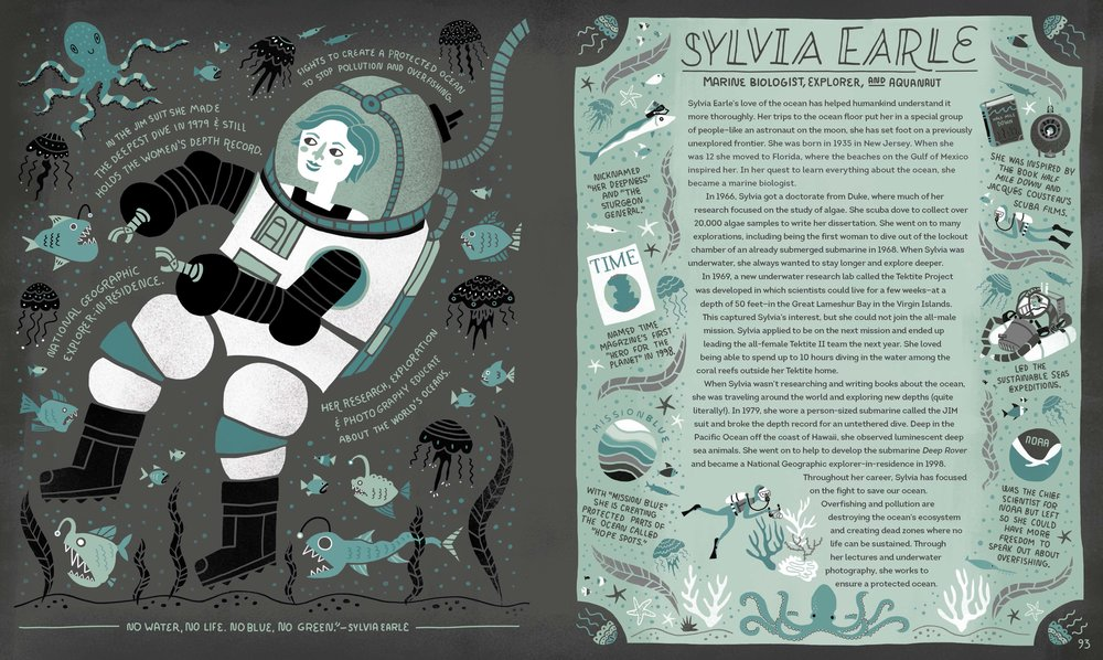 Sylvia Earle, a current National Geographic explorer-in-residence, traverses the deep sea. Reprinted with permission from Women in Science Copyright © 2016 by Rachel Ignotofsky. Published by Ten Speed Press, an imprint of Penguin Random House LLC.