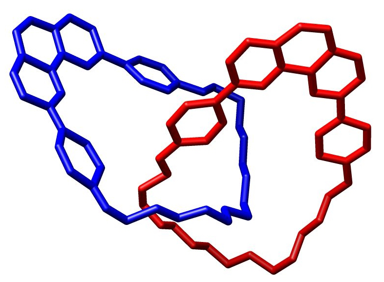 "Figure 1. Cantenads are two interlocking rings depicted here. The rings are held together by mechanical bonds and are not directly bonded together. Credit: ""Catenane Crystal Structure Chem Comm page634 1991 commons"" by M Stone is licensed under CC Attribution-Sharealike 3.0 Unported."