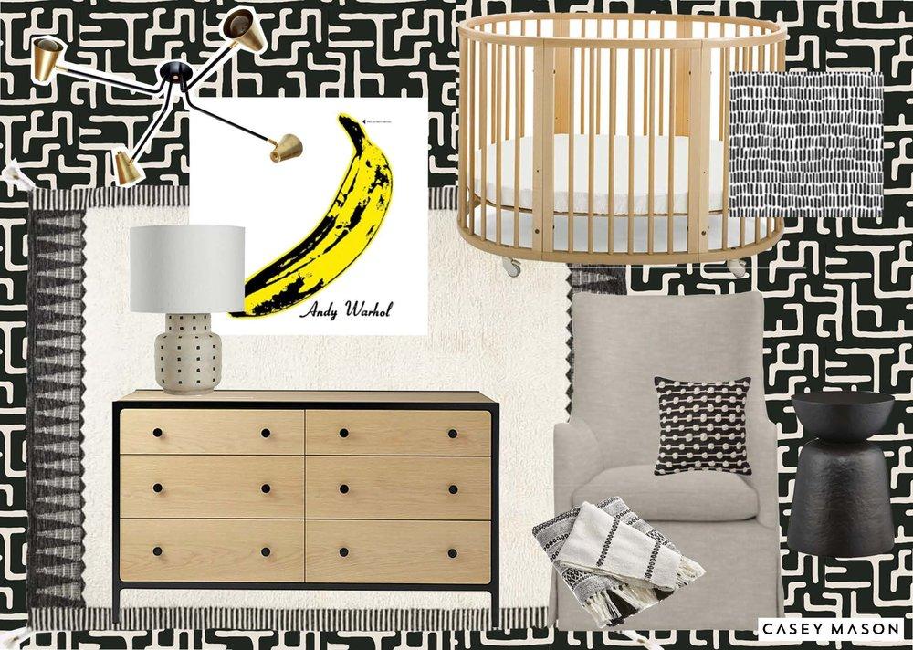 Casey Mason Interiors | Warhol Nursery moodboard