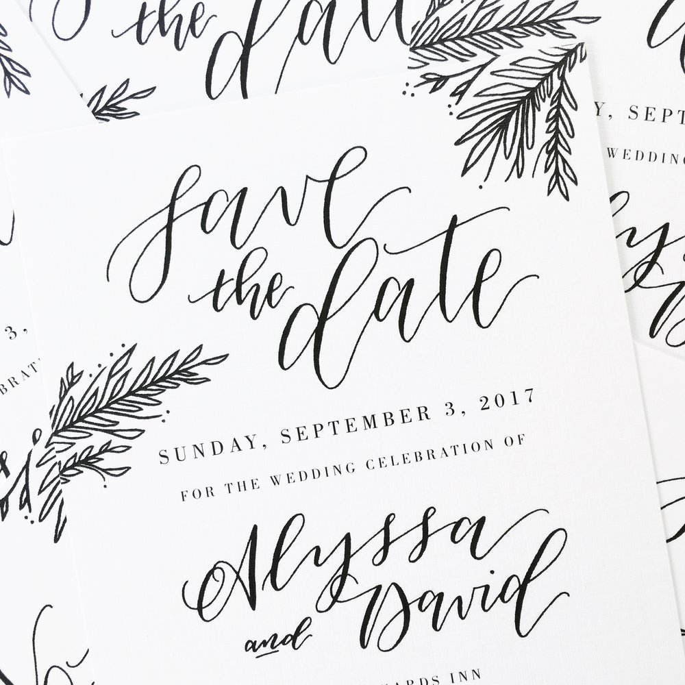 Save the Date Announcement - Custom Calligraphy and Design