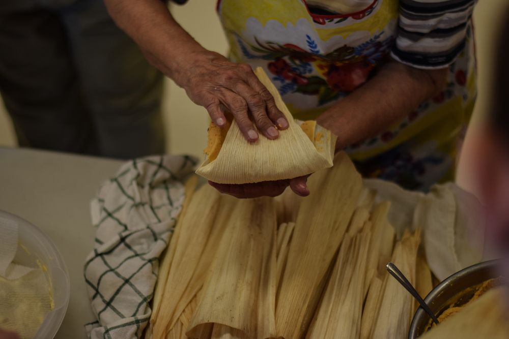Making tamales, a local specialty